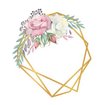 水彩画の白とピンクのバラの花、緑の葉、金の多角形のフレームの果実