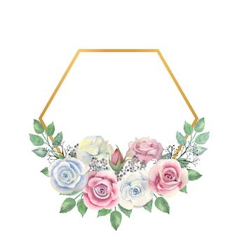 Акварель белые и розовые розы цветы зеленые листья ягоды в золотой многоугольной рамке