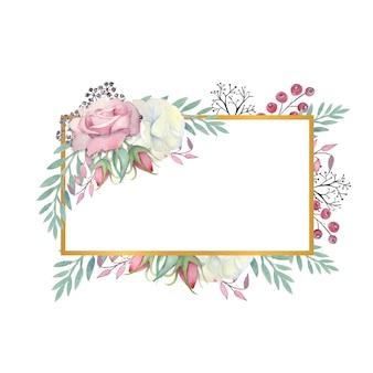 水彩画の白とピンクのバラの花、緑の葉、金の長方形のフレームの果実