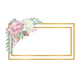水彩画の白とピンクのバラの花緑の葉の果実を金の長方形のフレームに