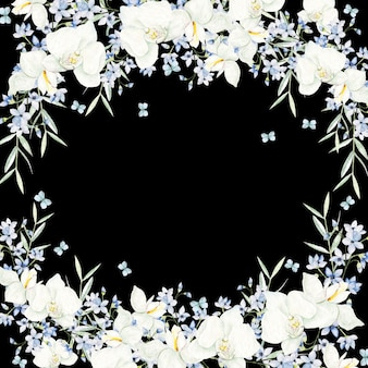 Watercolor white flowers round frame on black background