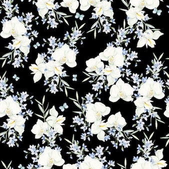 Watercolor white and light blue flowers frame on black background