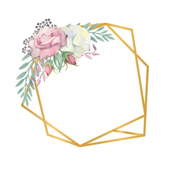 Watercolor white and pink roses flowers green leaves berries in a gold polygonal frame