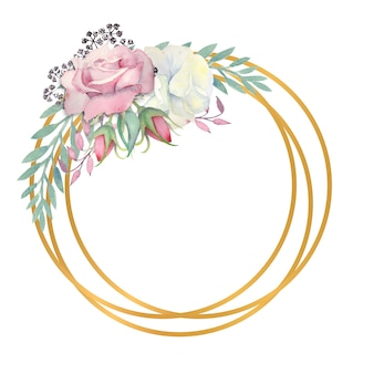 Watercolor white and pink roses flowers green leaves berries in a gold round frame