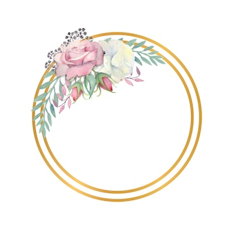 Watercolor white and pink roses flowers, green leaves, berries in a gold round frame
