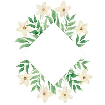 수채화 흰색 야생화와 녹색 나뭇잎 프레임. 현대 녹색 단풍 프레임 그림입니다. 결혼식 초대 카드입니다. 손으로 그린 봄 흰색 꽃과 나뭇잎 배열. 웨딩 장식.