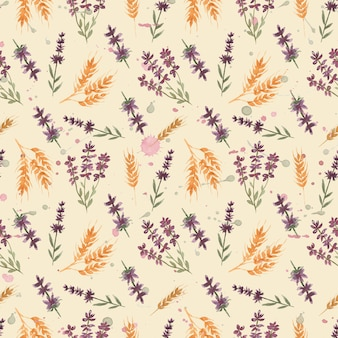Watercolor  wildflower floral pattern with lavender flowers and wheat