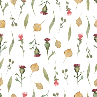 Watercolor  wildflower floral seamless pattern, delicate flower wallpaper with different wild flowers and autumn leaves