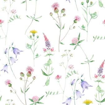 水彩の野花のシームレスなパターン。クローバーとベルの野生の花。花の手描きのテクスチャは、白い背景で隔離。