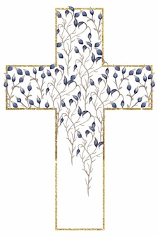 Watercolor wildflowers cross and golden frame clipart, blue flowers cross, meadow floral frame