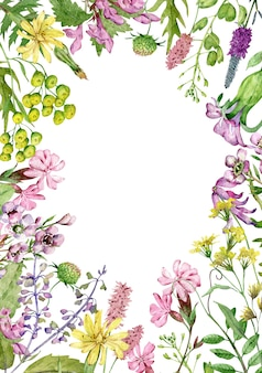 Watercolor wildflowers frame isolated on white background with copy space