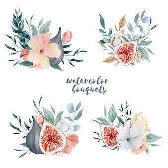 水彩冬の花束