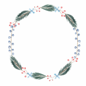 Watercolor winter christmas and  new year  wreath illustration
