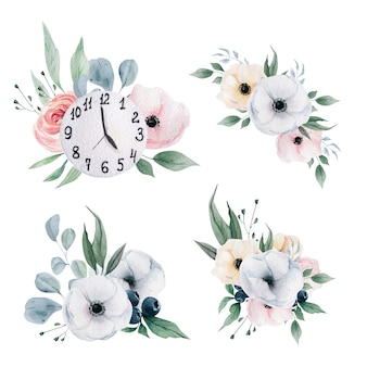 Watercolor winter clocks and flowers