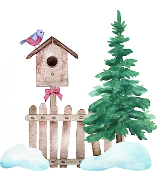 Watercolor winter composition. a red bird sitting on the birdhouse fixed on the fence standing near a green tree.