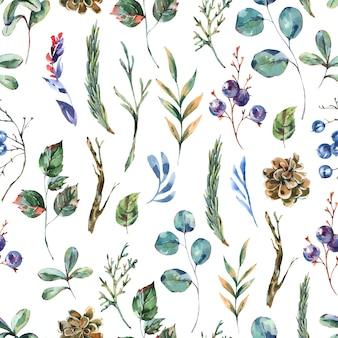 수채화 겨울 꽃 원활한 패턴