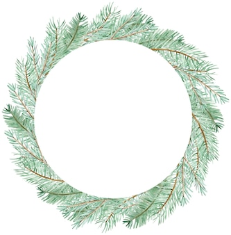 水彩画の冬の緑の松の枝の花輪。白い背景で隔離の手描きのクリスマスサークル緑の枝テンプレート。