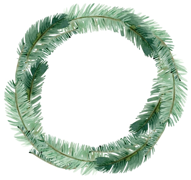Watercolor winter green pine branch wreath. hand-drawn christmas circle green branches template isolated on the white background.