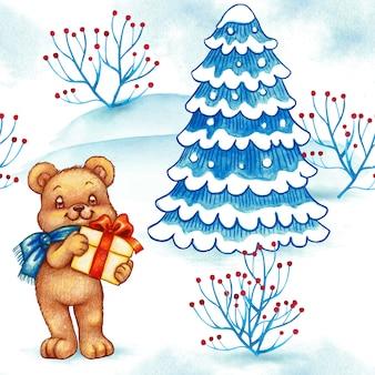 Watercolor winter landscape cute bear seamless pattern