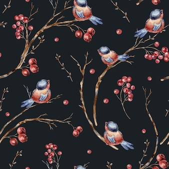 鳥、木の枝、赤い果実の水彩冬自然なシームレスパターン。