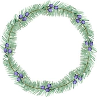 水彩画の冬の松の枝とブルーベリーの花輪。クリスマスホリデーフレーム。白い背景で隔離の年賀状テンプレート。