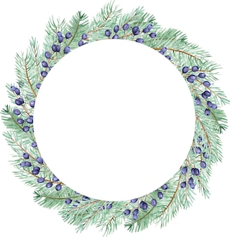 Watercolor winter pine branches and blue berries wreath. christmas holiday frame