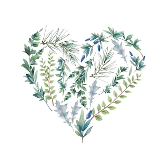 水彩の冬の植物の心。手描きの花のイラストが白い背景で隔離。自然なグラフィックラベル:葉と枝で構成されるハートシルエット