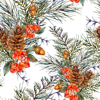Watercolor winter seamless pattern with bouquet of spruce branches, pine cones