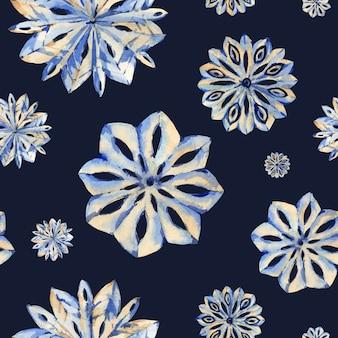 雪の結晶水彩冬シームレスパターン、手描きの芸術的なレーステクスチャ