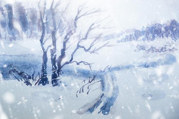 水彩冬の雪の森の風景イラスト