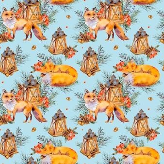 水彩ウッドランドフォックスシームレスパターン、かわいいキツネ、素朴なランタン、スプルースの枝、果実