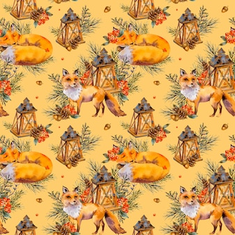 Watercolor woodland fox seamless pattern, cute fox, rustic lantern, spruce branch, berries