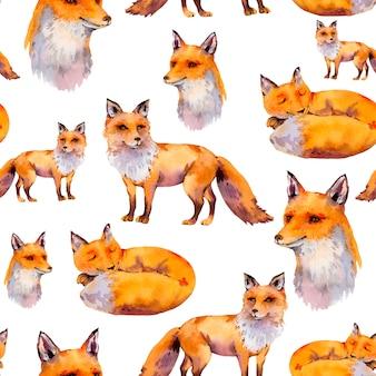 Watercolor woodland foxes seamless pattern, portrait fox, sleeping fox
