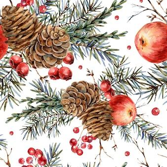 モミの枝、赤いリンゴ、果実、松ぼっくり、ビンテージの植物壁紙の水彩の森自然のシームレスパターン