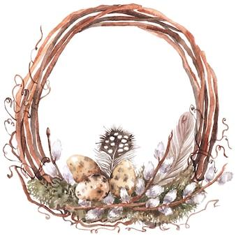 レトロなスタイルのイースターで水彩の花輪