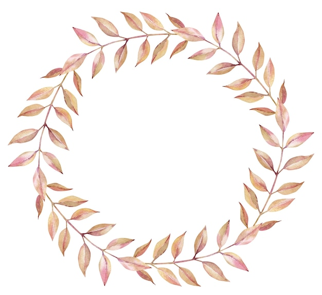 Watercolor wreath of autumn light orange and pink branches with long leaves isolated on the white background. fall simple round frame.