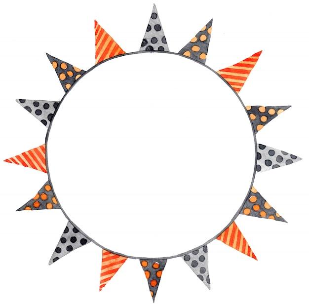 ハロウィーンの水彩画の花輪。色の花輪、フラグ