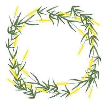 白い背景の上の小麦の穂から作られた水彩画の花輪。