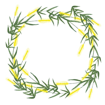 Watercolor wreath made from ears of wheat on white background.