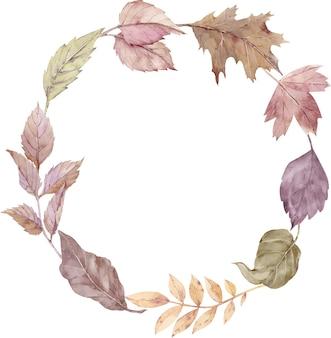 Акварельный венок из осенних листьев, изолированные на белом фоне. осенняя простая круглая рамка. шаблон благодарения.