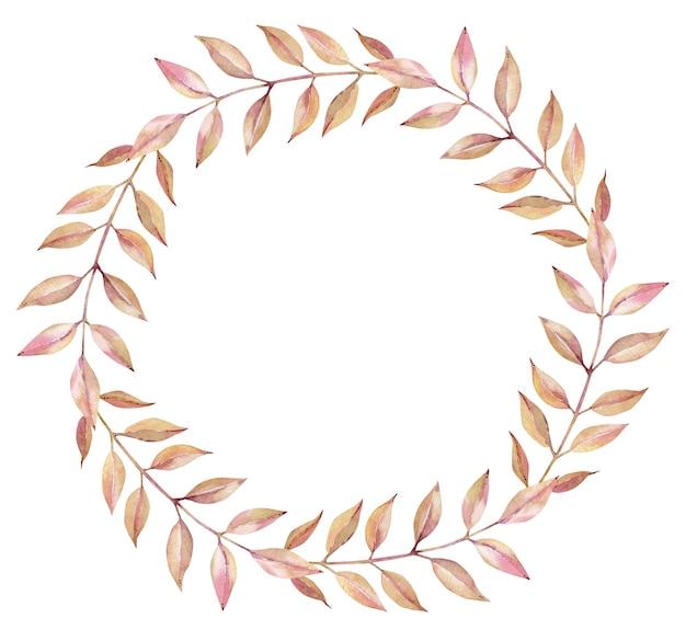 흰색 배경에 고립 된 긴 잎가 빛 오렌지와 핑크 분기의 수채화 화 환. 가을 간단한 라운드 프레임.