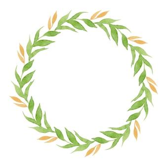 흰색 배경에 고립 된 잎의 수채화 화 환