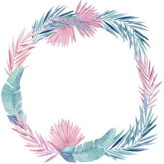 Акварель венок из розовых и голубых тропических листьев. раскрашенная вручную рамка с джунглями, растительными акварельными иллюстрациями, цветочными элементами, пальмовыми листьями, папоротником и другими.