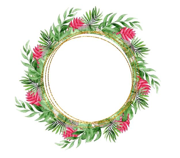 熱帯の葉と花の水彩画の花輪