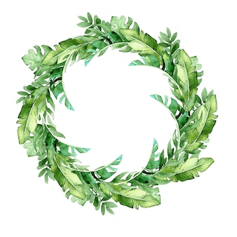 熱帯の葉の水彩画の花輪。