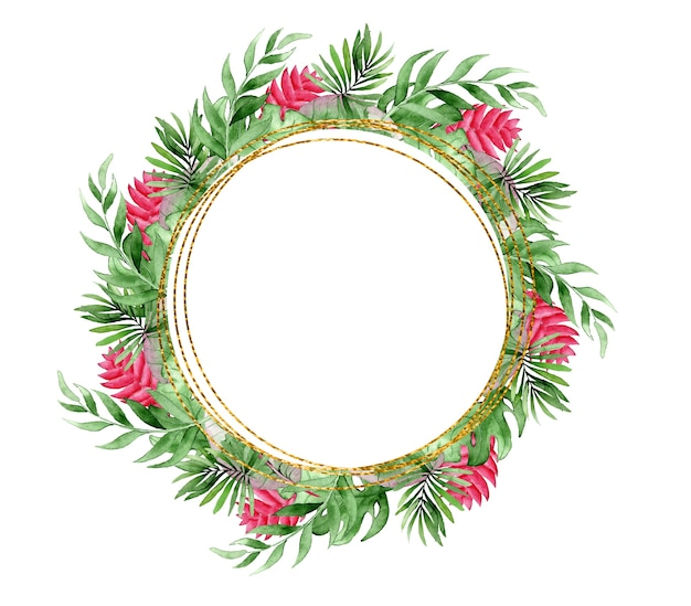 Watercolor wreath of tropical leaves and flowers