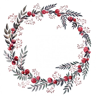 Watercolor wreath with berries