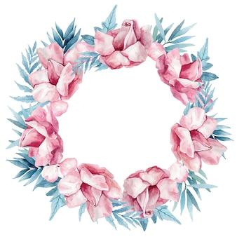 繊細なピンクの咲く花、つぼみ、白で隔離される葉の枝と水彩の花輪