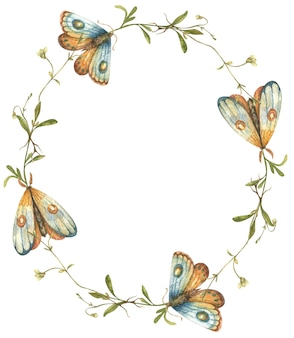 Watercolor wreath with bright wildflowers and hand drawn butterflies and moths