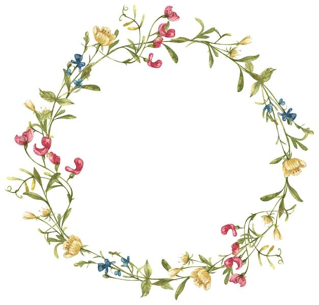 Акварельный венок с красочными рисованными полевыми цветами